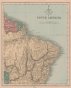 South America north east. Brazil & Guianas. HUGHES 1876 old antique map chart